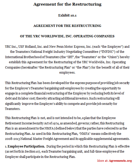 Agreement For The Restructuring