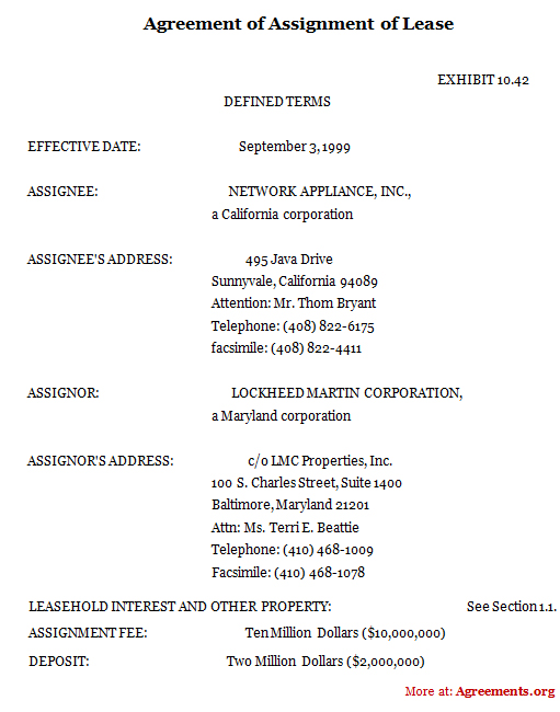 Agreement of Assignment of Lease