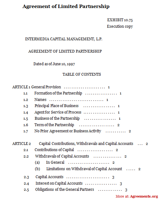 Agreement Of Limited Partnership, Sample Agreement Of Limited