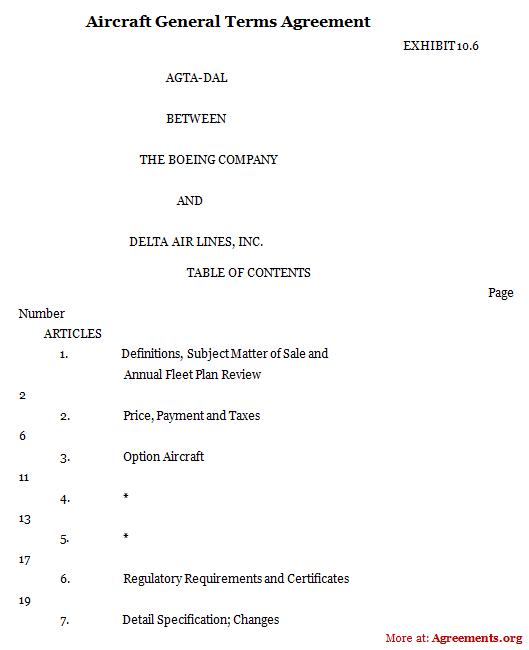 Aircraft General Terms Agreement