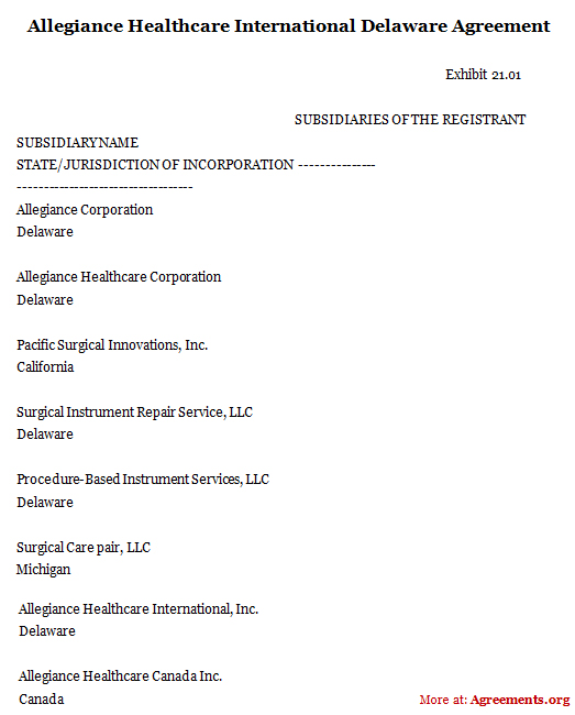Allegiance Healthcare International Delaware Agreement
