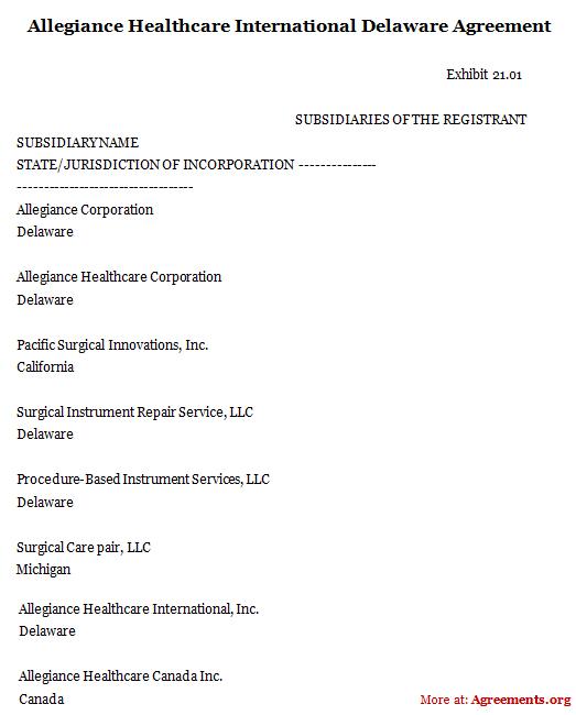 Allegiance Healthcare International Delaware Agreement