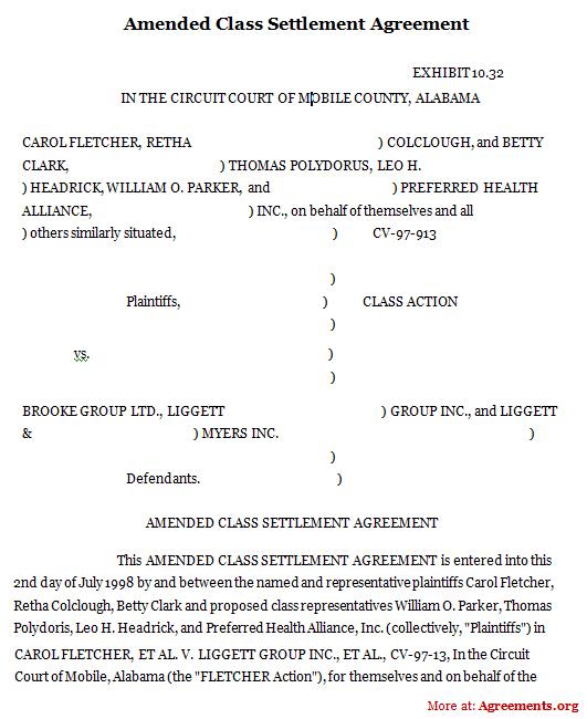 Amended Class Settlement Agreement