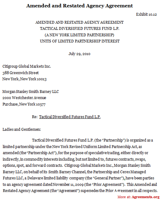 Amended And Restated Agency Agreement Sample Amended And Restated