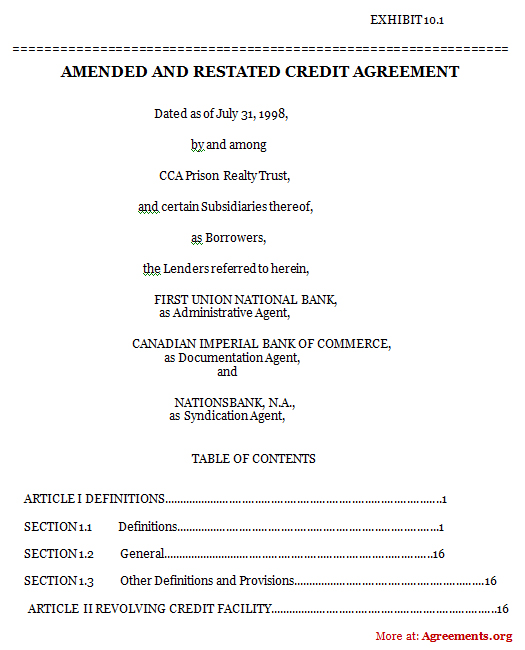 Amended And Restated Credit Agreement, Sample Amended And Restated
