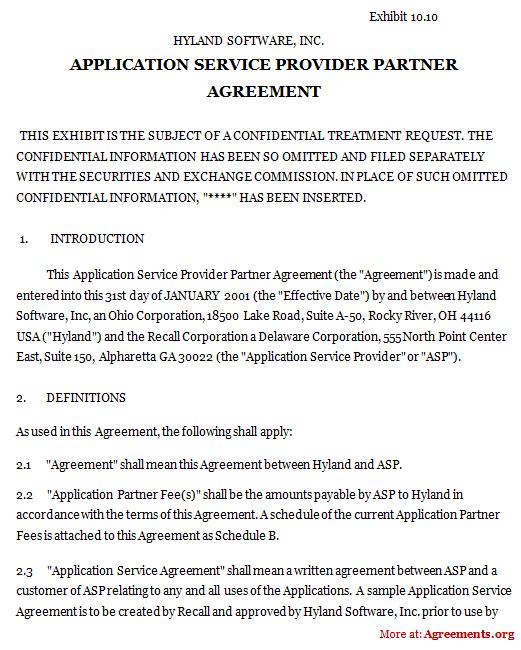 Application Service Provider Partner Agreement