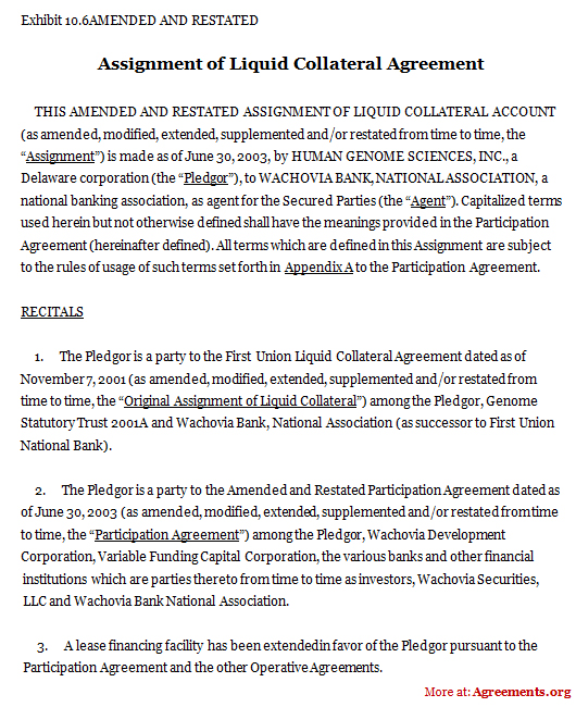 Assignment of Liquid Collateral Agreement