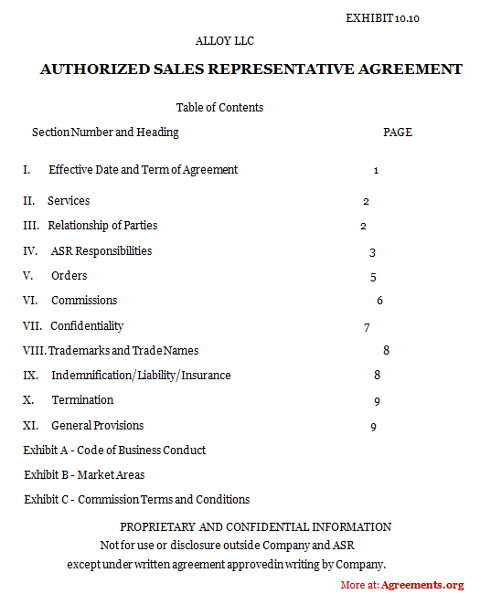 Authorized Sales Representative Agreement, Sample Authorized Sales