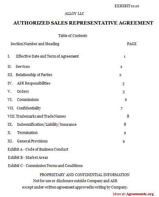 Authorized Sales Representative Agreement