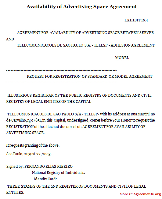 Availability of Advertising Space Agreement