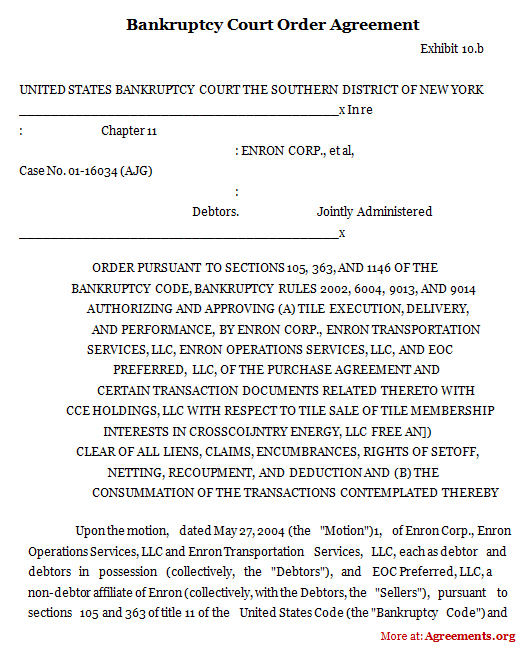 Bankruptcy Court Order Agreement