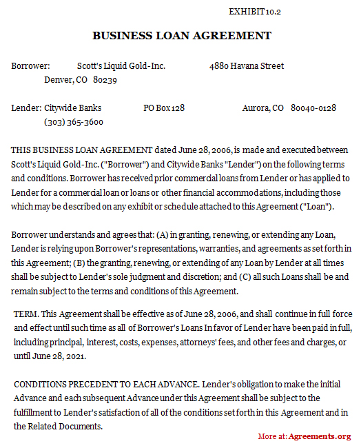 Download Business Loan Agreement Template