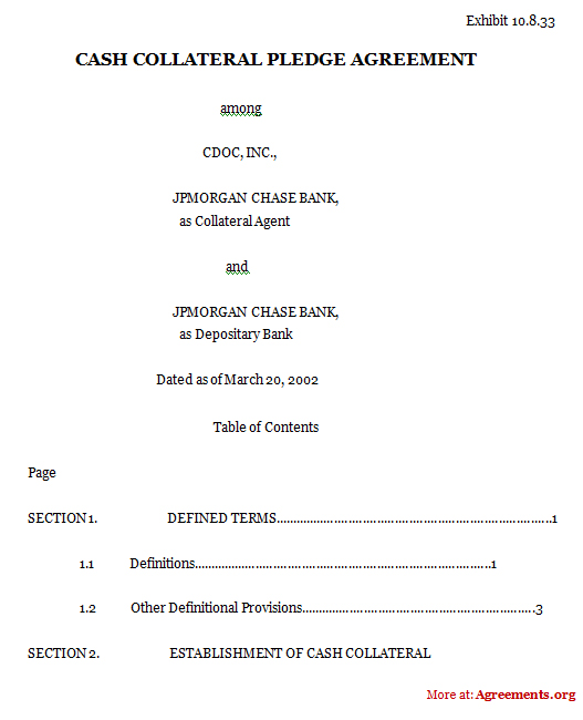 Cash Collateral Pledge Agreement Template