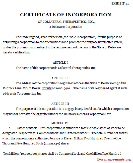 Certificate of Incorporation Agreement