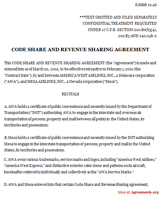 Code Share and Revenue Sharing Agreement