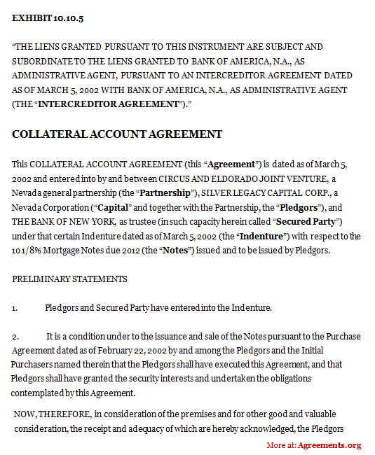 Collateral Account Agreement