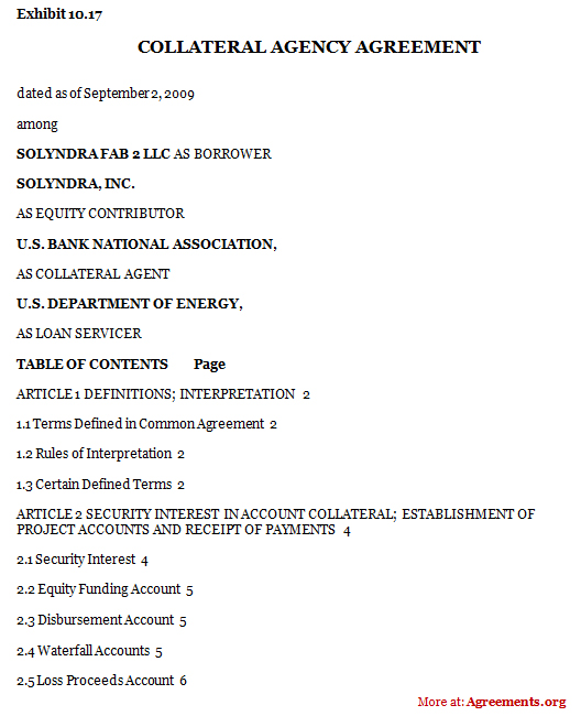 Collateral Agency Agreement Sample Collateral Agency
