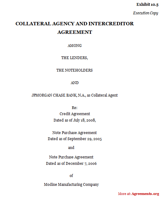 Collateral Agency and Inter-Creditor agreement