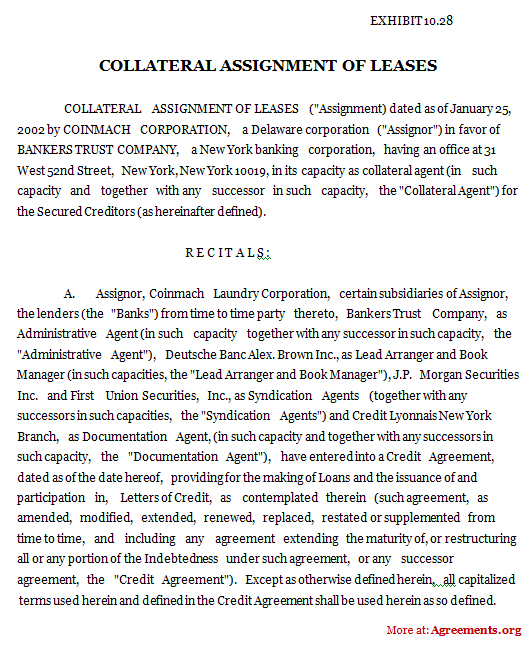 Collateral Assignment of Leases Agreement