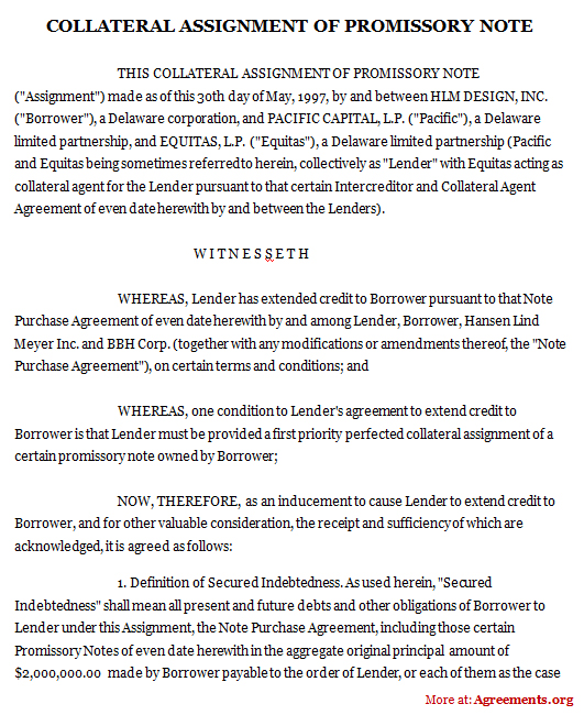 Promissory Note with Collateral Agreement Template