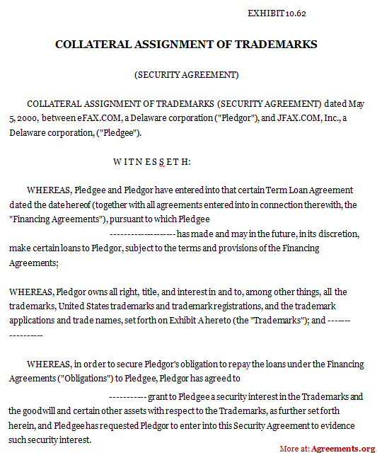 Download Collateral Assignment of Trademarks Agreement Template