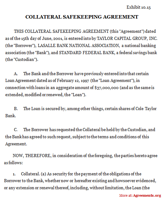 Collateral Safekeeping Agreement