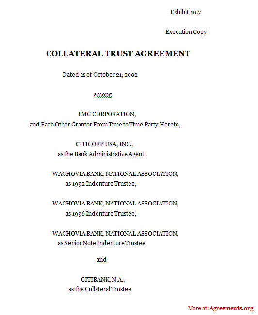 Download Collateral Trust Agreement Template