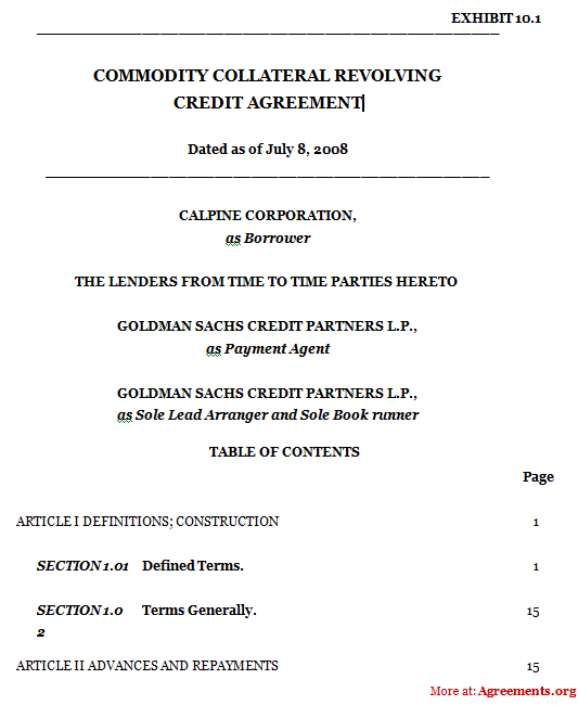 Commodity Collateral Revolving Credit Agreement