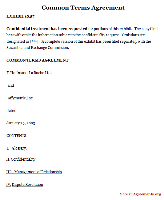 Download Common Terms Agreement Template