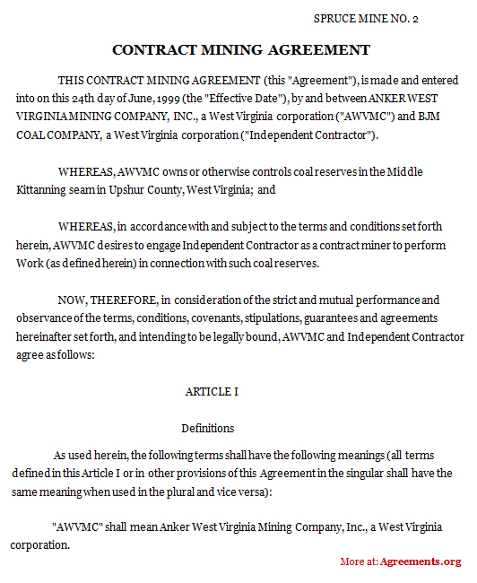 Download Contract Mining Agreement Template