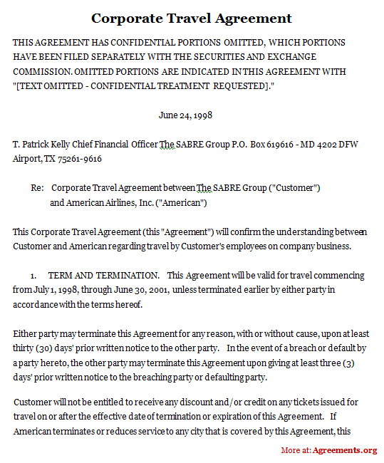 Corporate Travel Agreement Sample Corporate Travel Agreement
