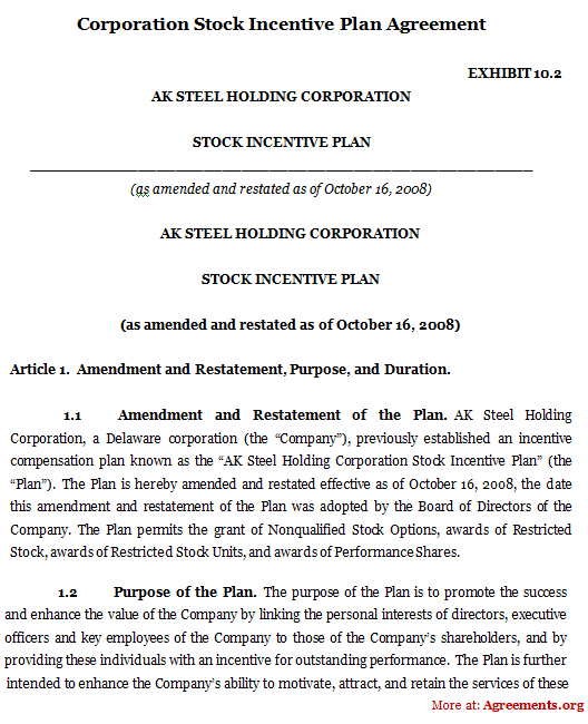Corporation Stock Incentive Plan Agreement