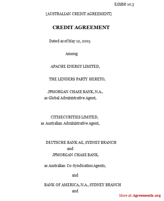 Credit Agreement, Sample Credit Agreement | Agreements.Org