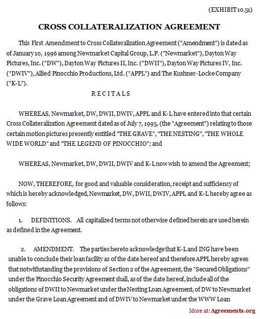 cross collateralization agreement  sample cross