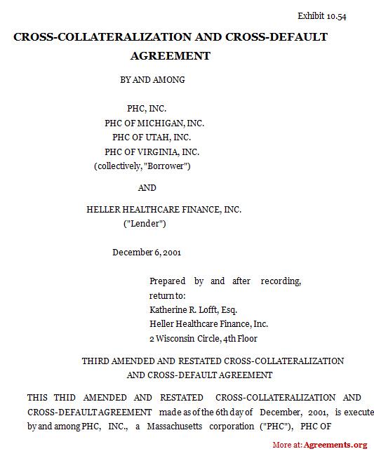 Cross Collateralization Cross Default Agreement