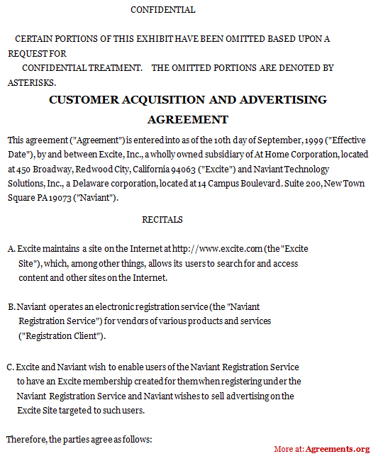 customer acquisition and advertising agreement  sample