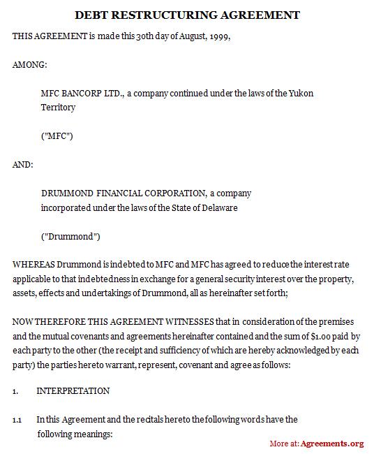 Debt Restructuring Agreement