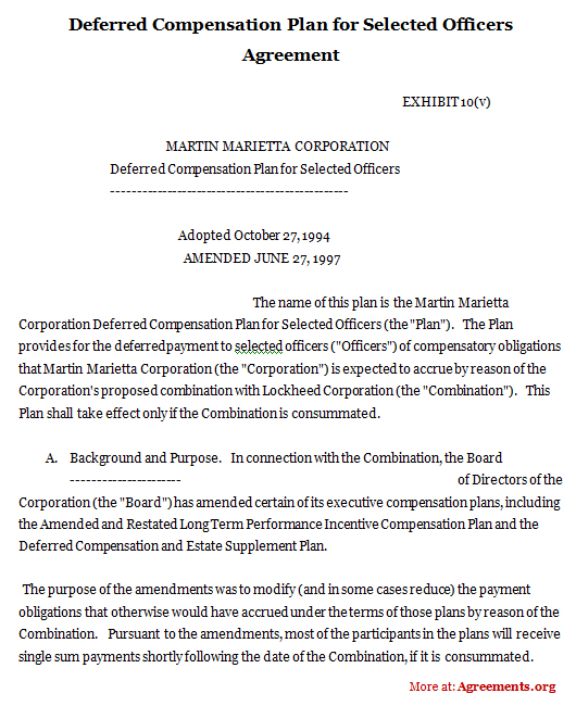 Deferred Compensation Plan for Selected Officers Agreement
