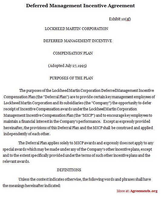 Deferred Management Incentive Agreement