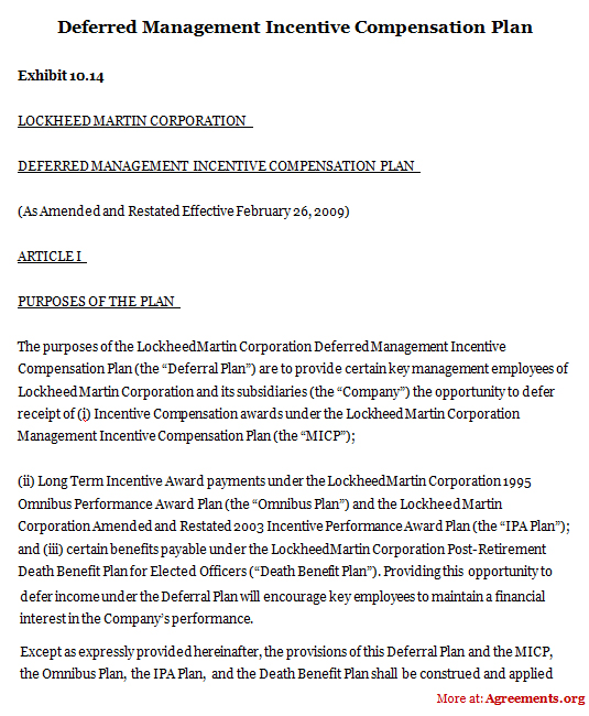 Deferred Management Incentive Compensation Plan Sample Deferred