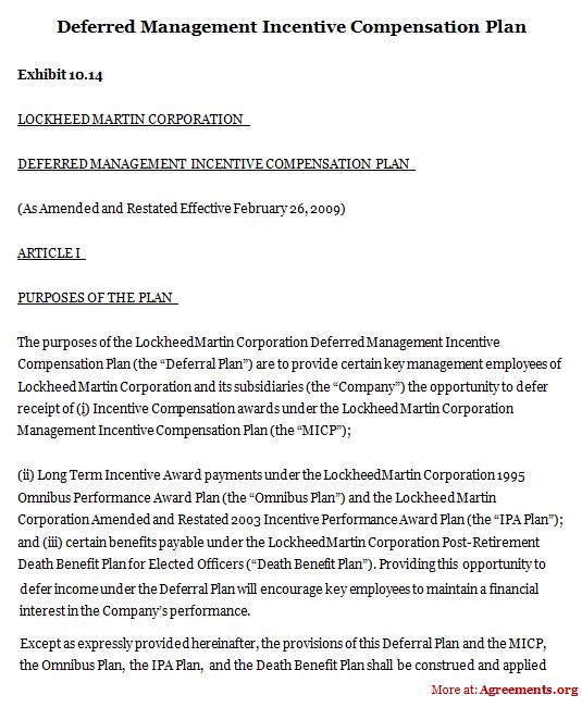 Deferred Management Incentive Compensation Plan