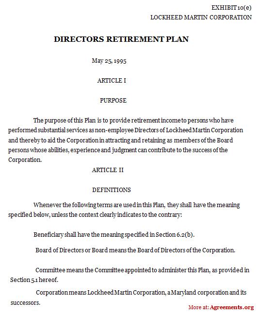 Directors Retirement Plan Agreement Template - Down load PDF