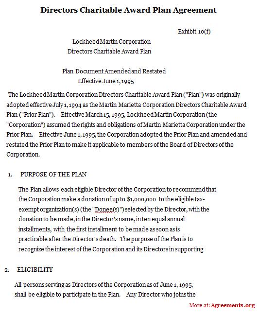 Directors Charitable Award Plan Agreement