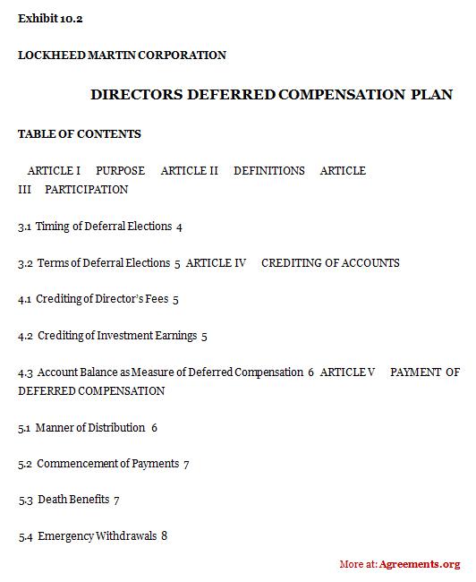 Directors Deferred Compensation Plan Agreement