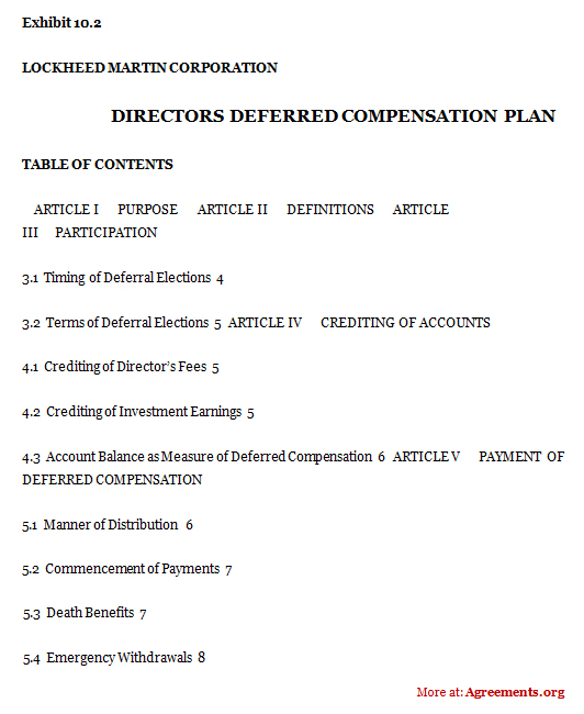 Directors Deferred Compensation Plan Agreement