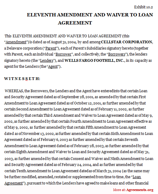 Eleventh Amendment And Waiver To Loan Agreement Sample Eleventh