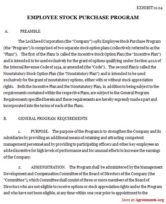 Employee Stock Purchase Program Agreement