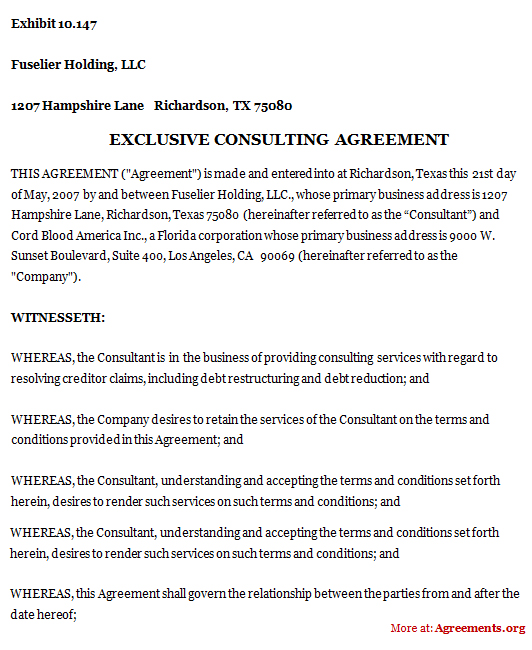 Exclusive Consulting Agreement Download Pdf Agreements Org