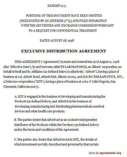Exclusive Distribution Agreement Word And Pdf Agreements Org