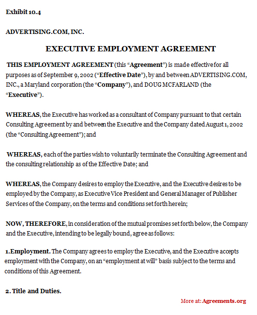 sample employement agreement format An employment contract or an employment agreement sets forth the terms of employment between a company and its employee for executives, employment agreements may provide the job title, the.